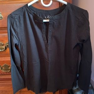 Loft long sleeve black blouse (tee) with 5 buttons